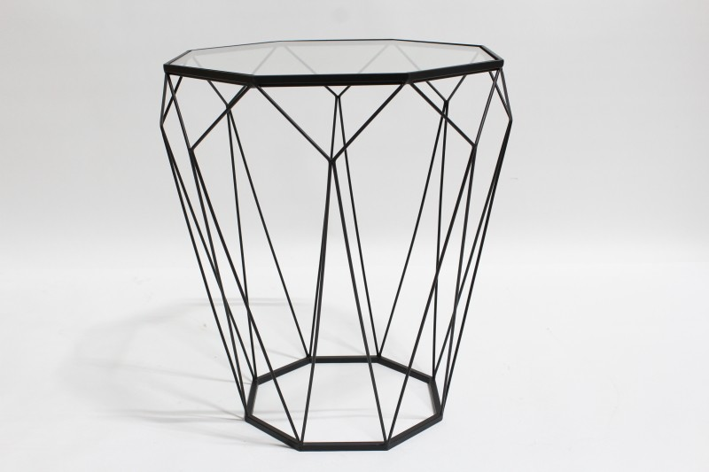 Wire Frame Coffee Table.Table Side Black Wire Frame W Faceted Geometric Shape Glass Top