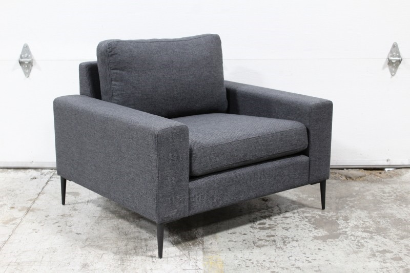 Chair Armchair Modern Lounge Square Arms Black Metal Legs