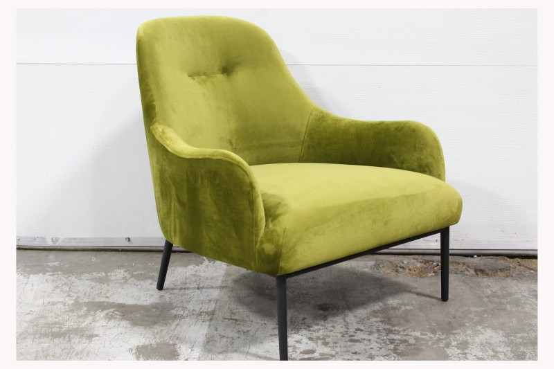 Chair Armchair Modern Lounge Curved Back Arms Tufted Seat
