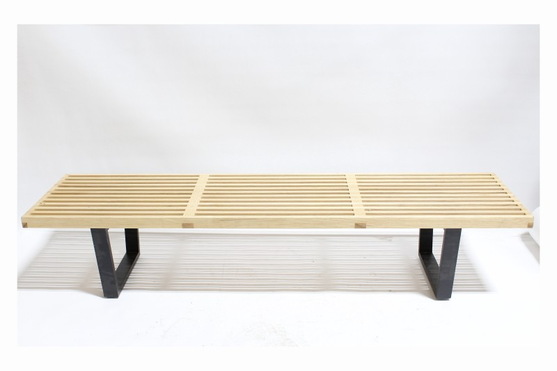 Bench Misc Modern Spaced Slats Black Metal Connected Legs