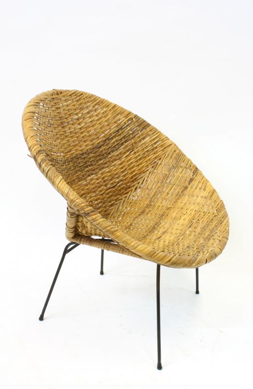 Chair Rattan Woven Wicker Bowl Chair W Black Metal Legs