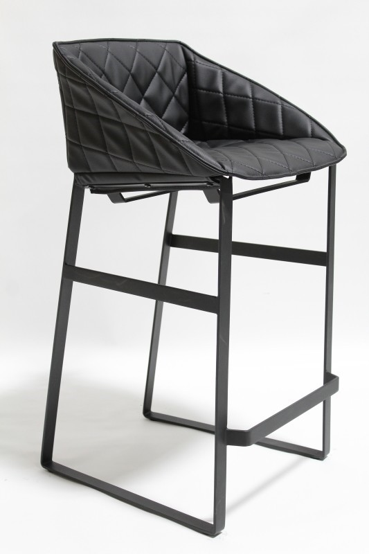 Stool Backrest Modern Counter Height Quilted Seat