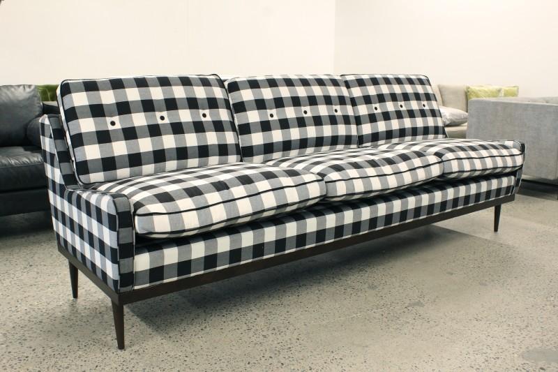 Sofa, Three Seat, MODERN,BLACK U0026 WHITE WINDOWPANE PLAID CHECKERED, LOW ARMS