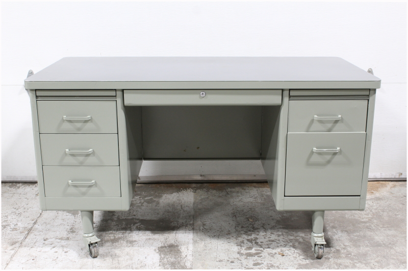 Desk, Metal, VINTAGE TANKER DESK,DOUBLE PEDESTAL, GREY TOP, ROLLING,