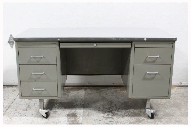 Desk Metal Vintage Tanker Desk Double Pedestal Light Grey Top