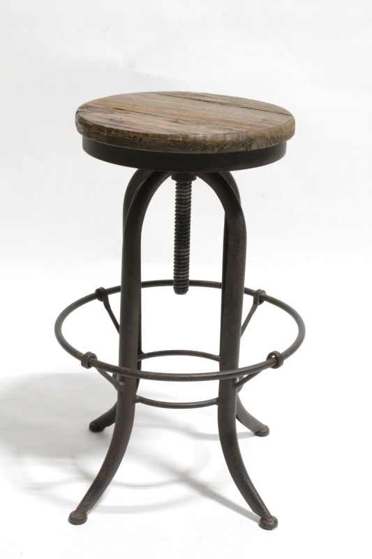 Stool Round Vintage Industrial Style Round Adjustable Wood