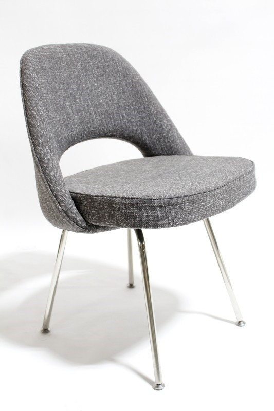 Chair Side Rounded Back W Open Cutout Grey Flecked
