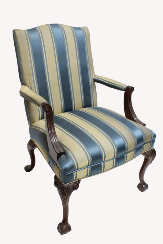 Chair Armchair Silk Striped Upholstery Curved Wood Legs
