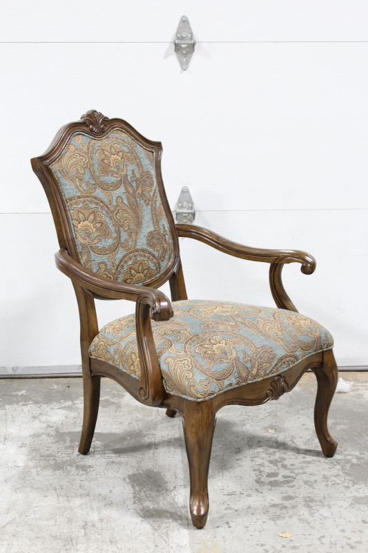 chair armchair blue brown patterned upholstery carved ...