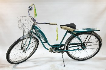 Bicycle, Adult, VINTAGE CRUISER, W/KICKSTAND, BASKET, BELL & HANDLE STREAMERS, COASTER BRAKES, BLACK & WHITE SEAT - Condition Not Identical To Photo, METAL, GREEN