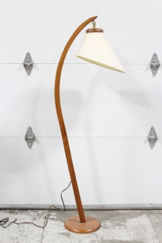 Lighting, Floor Lamp, 'VINTAGE, MODERN, TEAK, BOOMERANG, CURVED ARC, ROUND BASE CREAM COLOURED SHADE W/ANGLED SHAPE - Shade Is Included & Specific To This Lamp, WOOD, BROWN