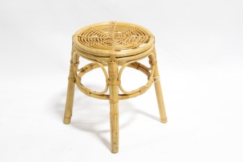 Stool, Round, VINTAGE STOOL, END TABLE OR STAND, WRAPPED BENT RATTAN, RATTAN, BROWN