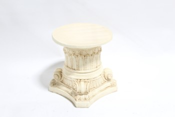 Plinth, Miscellaneous, ROUND TOP, ORNATE DISPLAY PLATFORM/COLUMN, SIDE TABLE, PLANT STAND, ANTIQUE LOOK, PLASTER, CREAM