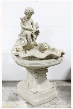 Garden, Fountain, LIGHTWEIGHT FOUNTAIN, HEAVY STONE LOOK, CLASSIC STYLE, 3 PCS., CHERUB/ANGEL CHILD ON SHELL W/PEDESTAL BASE, FIBERGLASS, GREY