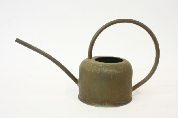 Garden, Watering Can, TUBULAR SPOUT & CIRCULAR HANDLE, PATINA , METAL, BRASS