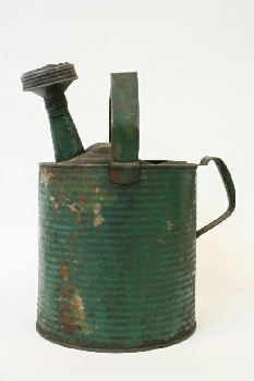 Garden, Watering Can, 2 HANDLES,HAND PUNCHED SPOUT, BANDS , METAL, GREEN