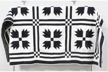 Bedding, Quilt, CLEARED, HANDMADE QUILT, FRONT BLACK SHAPES ON WHITE, BACK IS BLACK & WHITE PATTERN , FABRIC, BLACK