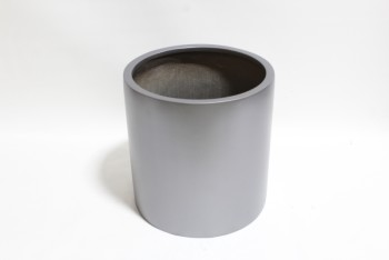 Garden, Planter, CYLINDRICAL DRUM PLANT CONTAINER, SOLID/PLAIN , FIBERGLASS, SILVER