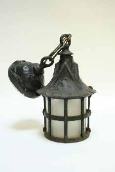 Lighting, Wallmount, EXTERIOR,SCONCE,FROSTED GLASS, TAPERED TOP,AGED (Missing Glass Insert) , IRON, BLACK